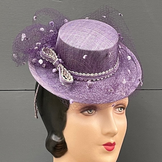 Lavender straw mini boater percher with antique metallic braid trim and vintage silk dot veiling