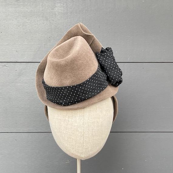 Mushroom brown mini fedora percher with vintage black polka dot ribbon