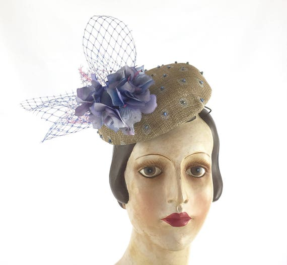 Polka dot button hat with beading, vintage flowers and veiling