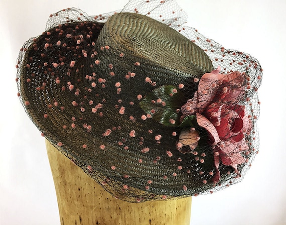 Taupe straw boater with dotted vintage veiling and pink rose
