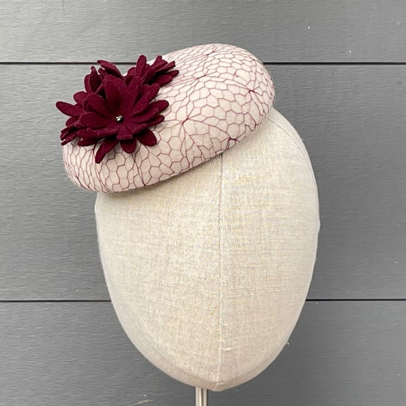Pale gray velour felt button percher with fabulous vintage burgundy veiling and burgundy felt flowers