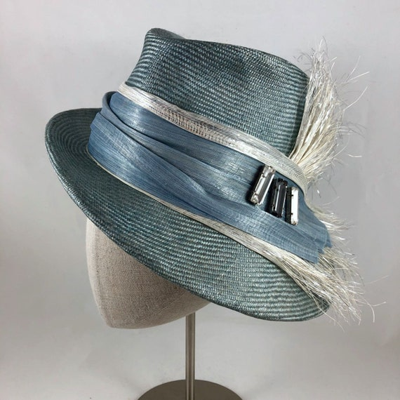 Gray-blue parasisal straw fedora with silk abaca and Lurex straw band and glass gems