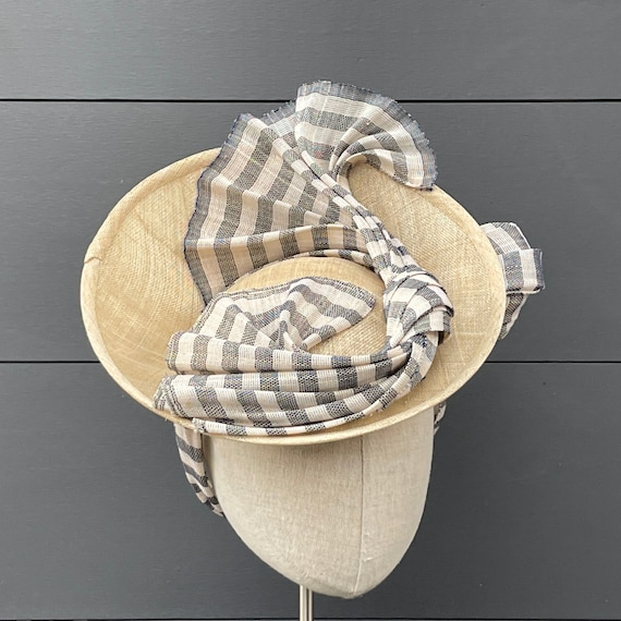 Straw saucer hat with navy and white striped Paris cloth twist and bandeau