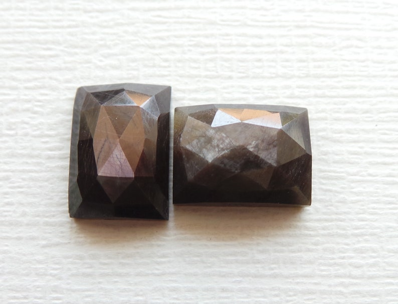 Chocolate Sapphire Natural Copper Shine Sapphire Gemstone One Side Faceted Rose Cut 14x10 MM Rectangle Shape Copper Sapphire 2 Pcs Lot