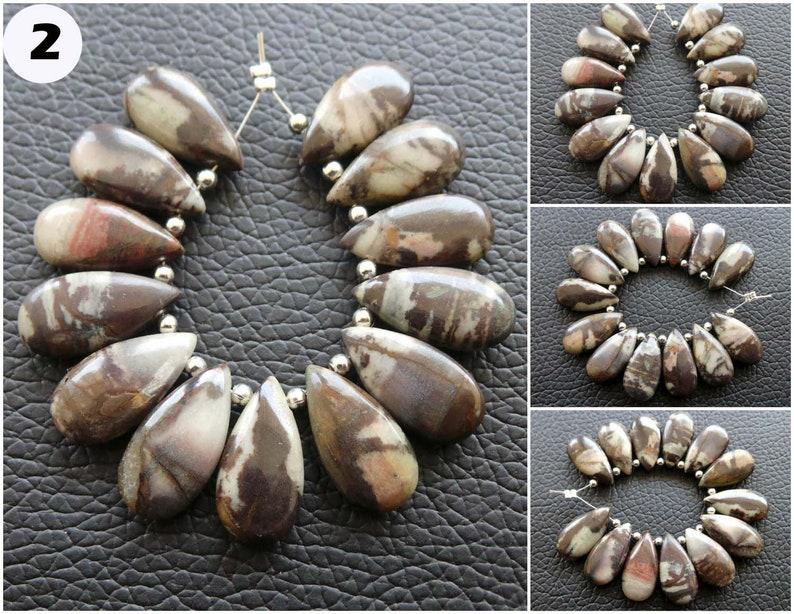 RGP11 Coconut Jasper Gemstone Briolette Natural Coconut Jasper Pear Beads Briolette Coconut Jasper Smooth Beads