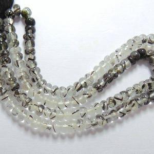 Natural Black Rutile Gemstone Smooth Beads Shape Black Rutilated Quartz Beads 4-4.5 MM 14 Inch Strand