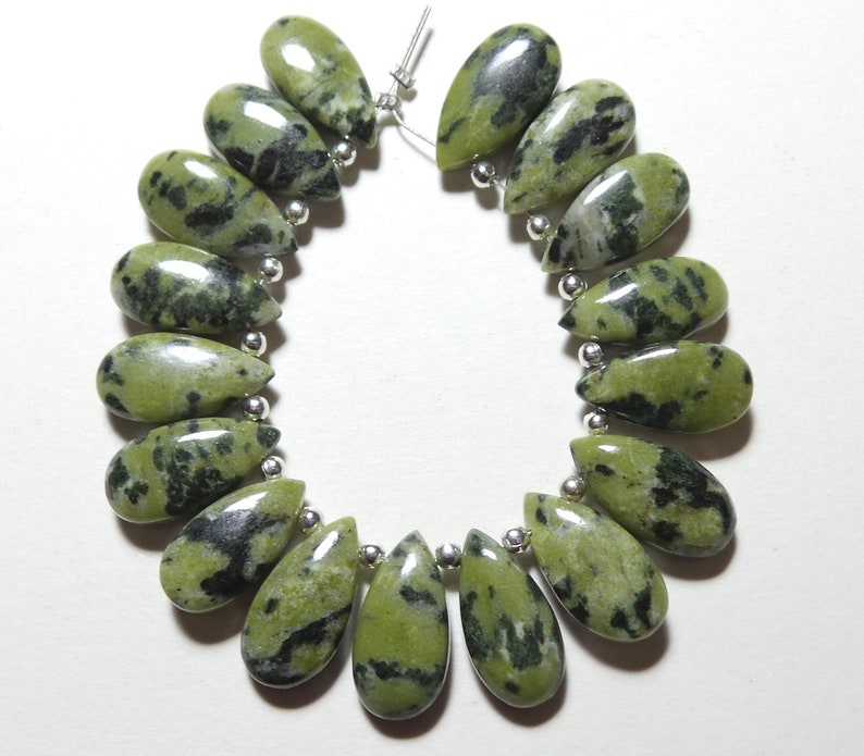 17 Pcs Briolettes Natural Dalmation Jasper Green Dalmation Jewellery Making Gemstone Briolettes Green Dalmation Jasper 15x8-16x8 MM