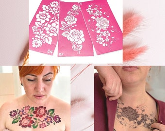 Temporary tattoo stencil set with large flowers for glitter, henna adhesive or painting tattoos