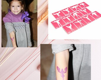 Angels temporary tattoo stencil set of 12 for glitter, henna adhesive or painting tattoos