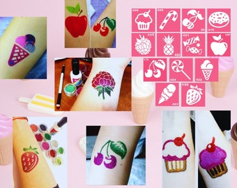Set of 13 sweet and fruit temporary tattoo stencils for Glitter, Henna, Tattoo Drawing and Airbrush