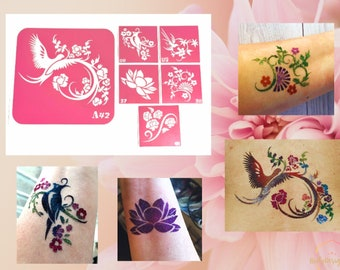 Openwork flowers set of stencils for beauty glitter tattoo and vintage henna tattoo