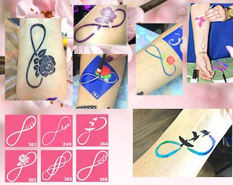 Temporary tattoo stencil set of Infinity for glitter, airbrush or painting tattoos