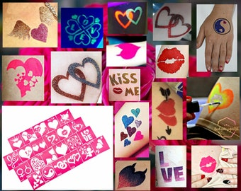 """Temporary tattoo stencil set """"Love story"""" for glitter, henna, adhesive or painting tattoos"""