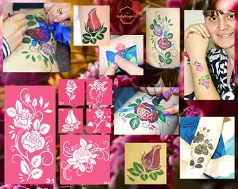 Roses temporary tattoo stencil set of 6 for glitter, henna, airbrush or face painting tattoos