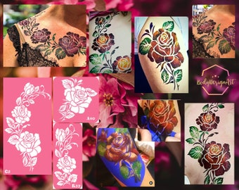 Temporary tattoo stencil set with roses for glitter, henna adhesive or face painting tattoos