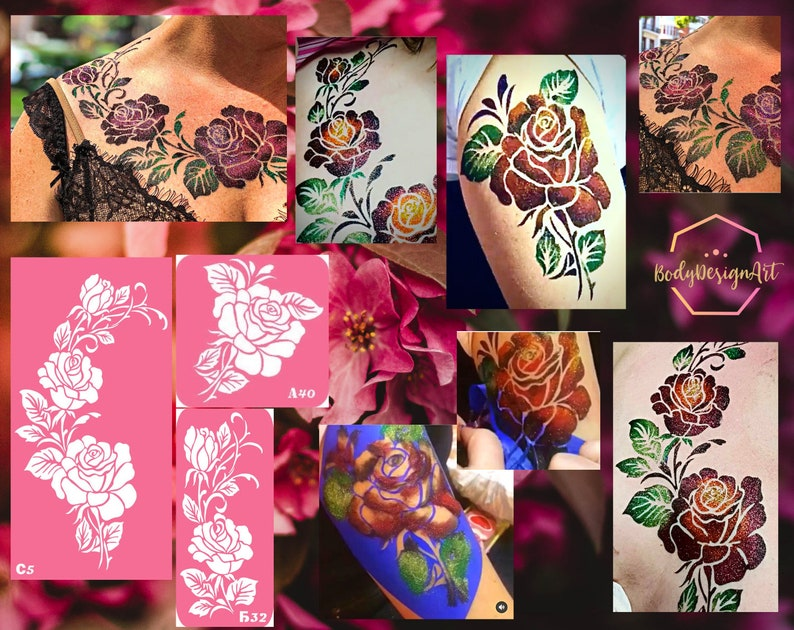 Temporary tattoo stencil set with roses for glitter henna image 1