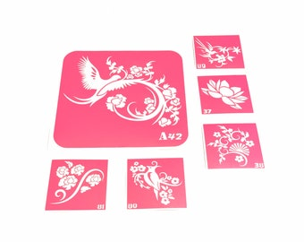 6 pcs Stencils for art tattoos Openwork flowers set. Glitter tattoo. Flowers stencils. Beauty stencils. Vintage stencils. Henna stencil.