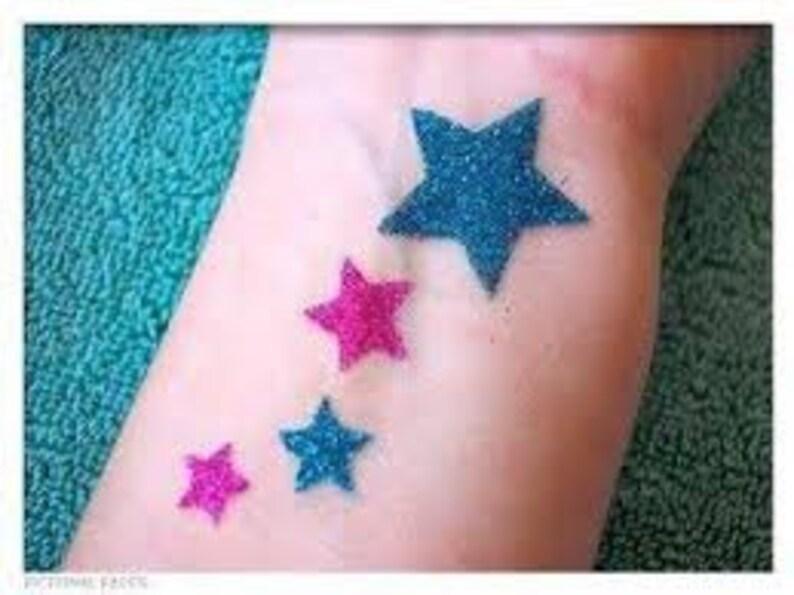 Glitter tattoo Body art tattoo Face painting stencils 7 pcs Stencils for temporary tattoos Stars set Adhesive stencils 7 pieces
