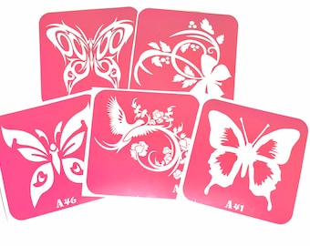 5 pcs Stencils for art tattoo Butterflies-2 set. Glitter tattoo. Adhesive stencils. Body art tattoo. Painting stencils. Henna stencil.