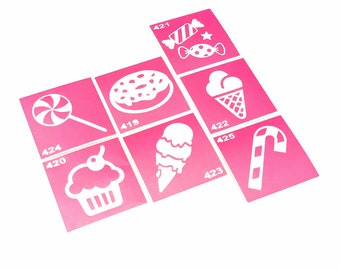 7 pcs Stencils for art tattoo Candy set. Glitter tattoo. Henna Stencils. Adhesive stencils. Stencil for art. Glitter tattoo stencil.
