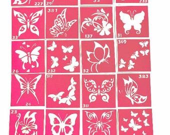 22 pcs Stencils for temporary tattoos Butterflies set. Glitter tattoo. Adhesive stencils. Body art tattoo. Face painting stencils