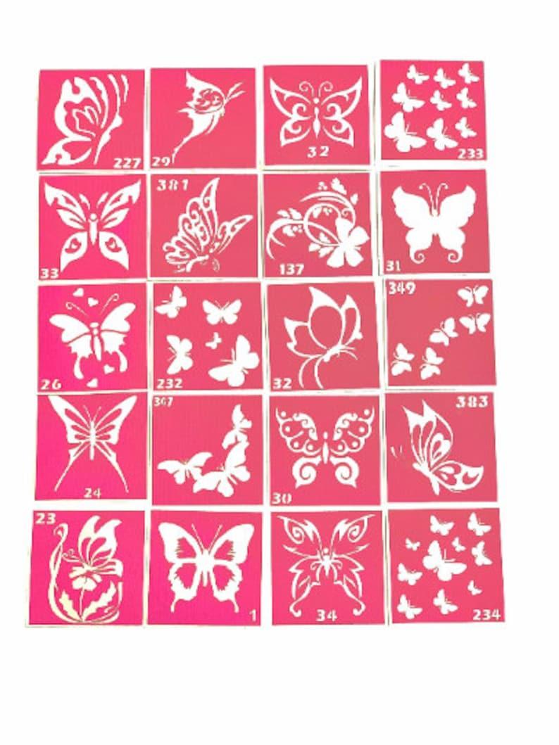 22 pcs Stencils for temporary tattoos Butterflies set. Glitter image 0