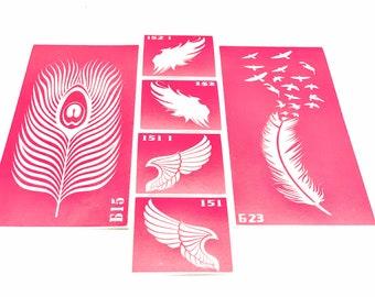 DIY Henna tattoo kit Stencils for art tattoo Wings and feathers set Glitter tattoo Adhesive stencil Henna stencil Tattoo wings Stencil wings