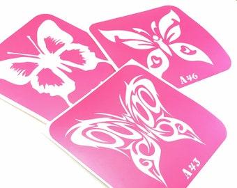 3 pcs Stencils for art tattoo Butterflies-3 set. Glitter tattoo. Adhesive stencils. Painting stencils. Henna stencil. Stencil for tattoo.