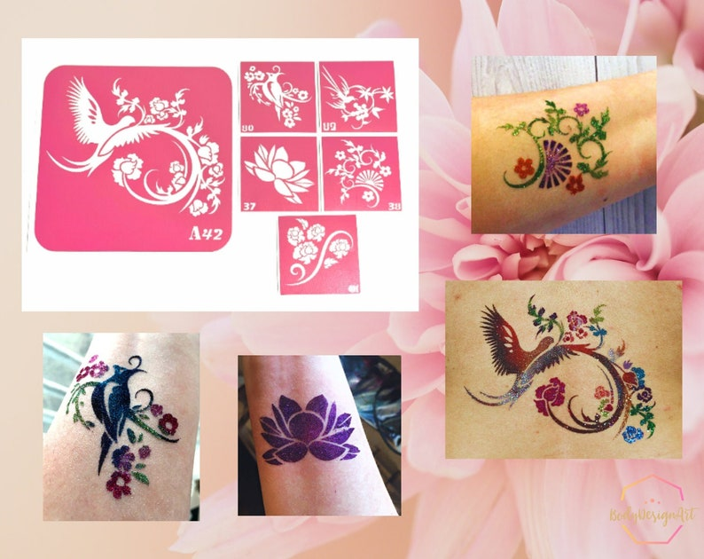 Openwork flowers set of stencils for beauty glitter tattoo and image 1