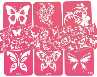 Temporary tattoo stencil set with butterfly for glitter, henna adhesive or painting tattoos