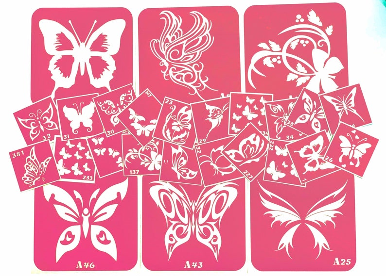 Butterfly stencil  large set of adhesive stencils image 0