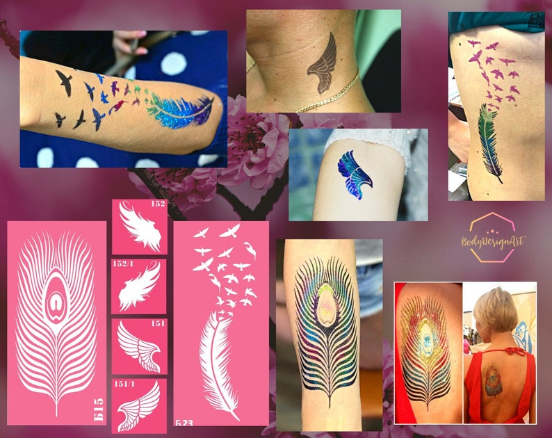 Temporary tattoo stencil set with wings and feathers for image 1