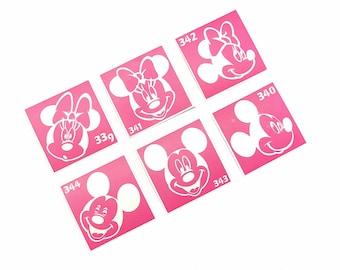 Stencil for art. Tattoo stencils Mickey and Minnie Mouse, 6 pieces. Glitter tattoo. Henna stencil.