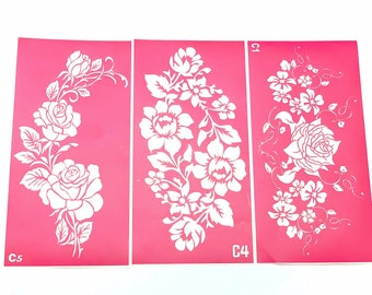 Stencils for art Large Flowers set. Glitter tattoo. Henna Stencils. Adhesive stencils. Large stencil.