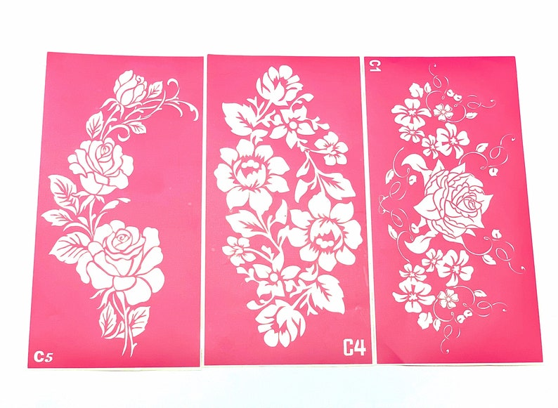 Stencils for art Large Flowers set. Glitter tattoo. Henna image 0