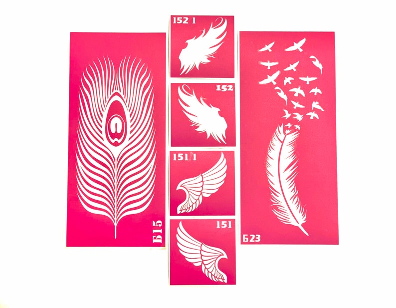 6 pcs Stencils for art tattoos Wings and feathers set 6 image 0