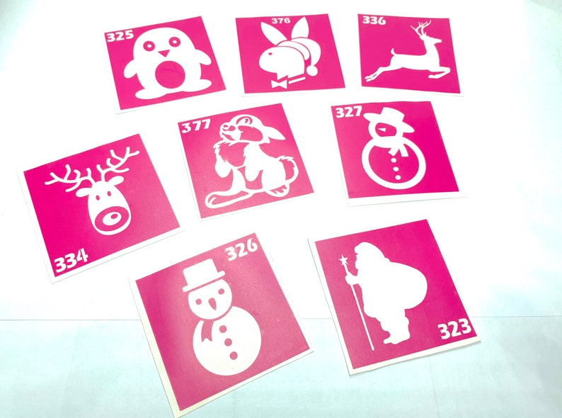 8 pcs Stencils for temporary tattoos Santa Claus set. Reindeer image 0