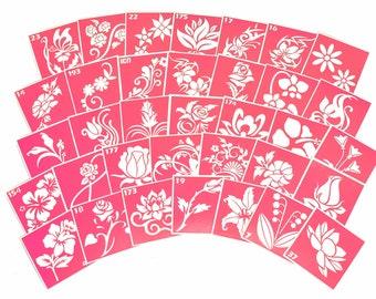 35 pcs Stencils for art tattoo Flowers set. Glitter tattoo. Adhesive stencils. Painting stencils. Henna stencil. Stencil for art.
