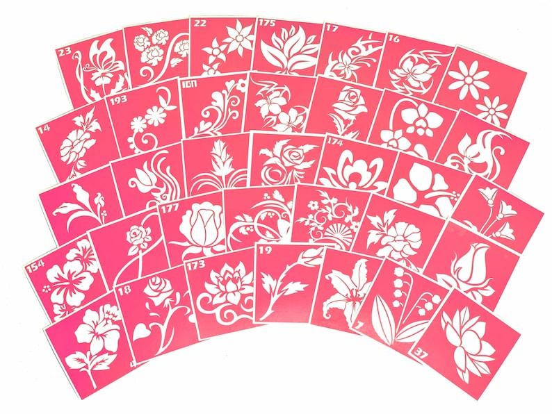 35 pcs Stencils for art tattoo Flowers set. Glitter tattoo. image 0