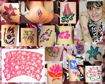 Temporary tattoo stencils set of 35 flowers for glitter tattoo, henna tattoo and adhesive stencils, painting stencils for airbrush