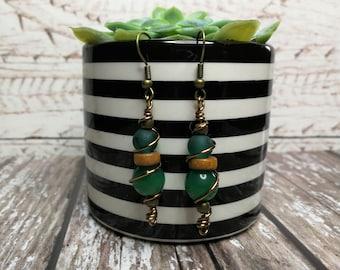 Jade green earrings, beaded earrings, wire wrapped earrings, bohemian earrings, earthy earrings, antique bronze earrings, dangle earrings.