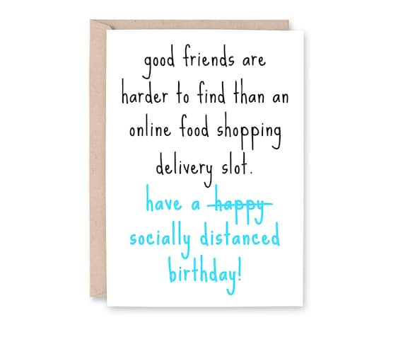Social Distancing Birthday Card Quarantine Card Online Etsy