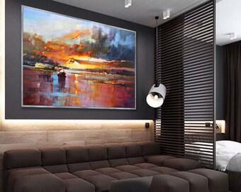 """Extra Large wall art Abstract Seascape Modern oil Painting 48x72""""/120x180cm Oversize Sea Art XL, XXL,XXXL"""