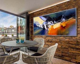 """Abstract Painting Colorful Contemporary Art  Large Modern Panoramic Palette Knife Modern Wall Art  27x72""""/70x180cm"""