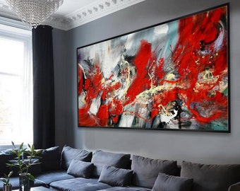 "6e3b66dff5c Hand Painted Texture Abstract Panoramic Canvas Modern wall Art Super Extra  Large Oversize Acrylic painting Living Dinner Room 96""   240"