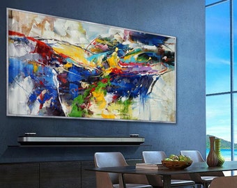 b3fe368dd08 Bright Colorful Abstract Super Extra Large Oversize Panoramic Canvas Modern  wall Art Hand Made Oil painting Living Dinner Room Office Hotel