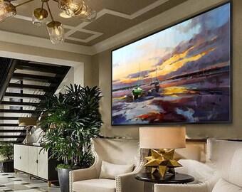 "Modern Wall Art Contemporary Abstract Painting Extra Large Sea Beach Coast Coastal Seascape Sunset oil painting 48x80""/120x200cm XXXL, XXL"