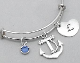 Anchor heart initial charm bracelet | anchor bangle | personalised anchor bracelet | anchor jewelry | anchor gift | birthstone