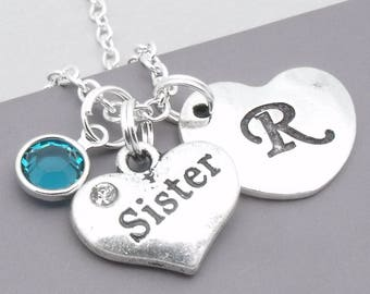 551f62baa3 Sister heart initial necklace | sister pendant | personalised sister  necklace | sister jewelry | sister gift