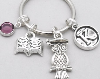 Graduation owl with book vintage initial keyring | graduation keychain | graduate keychain | personalised graduation keyring | graduate gift